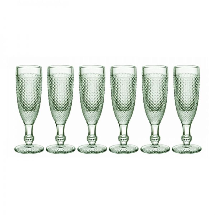 Cj de 6 Taças de Champagne Bico de Jaca Verde