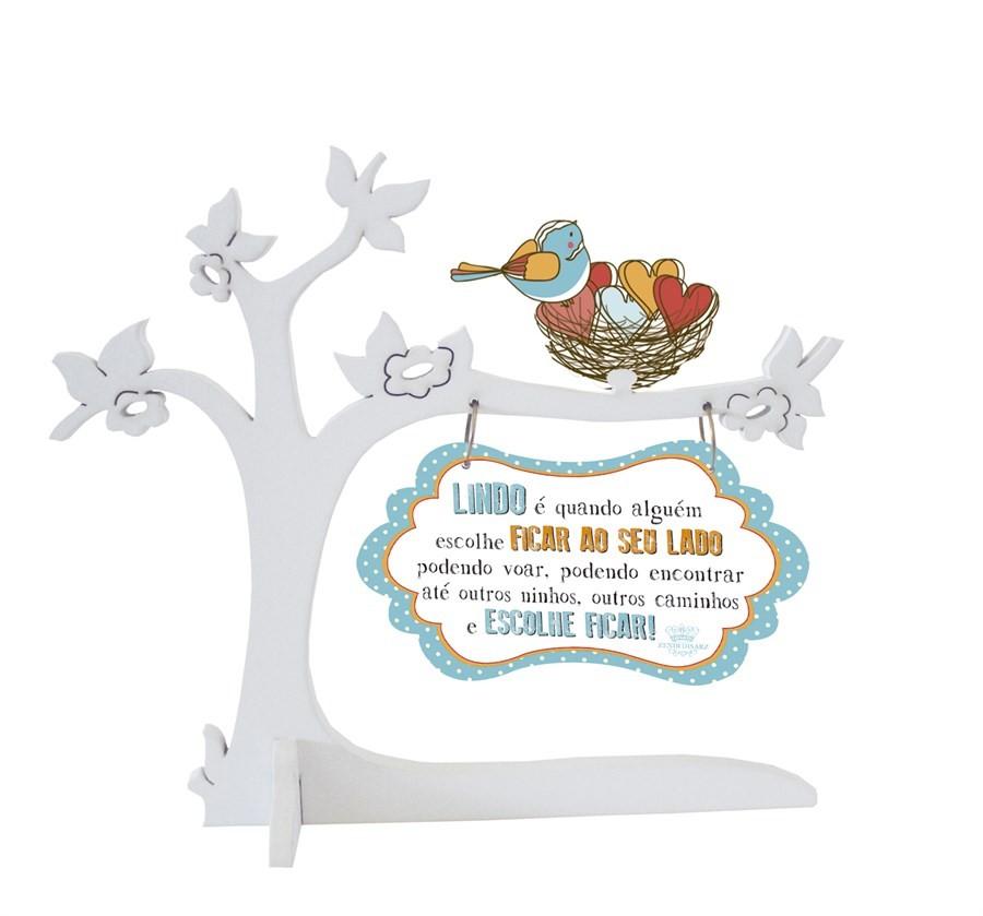 Placa Decorativa Árvore com Pássaros