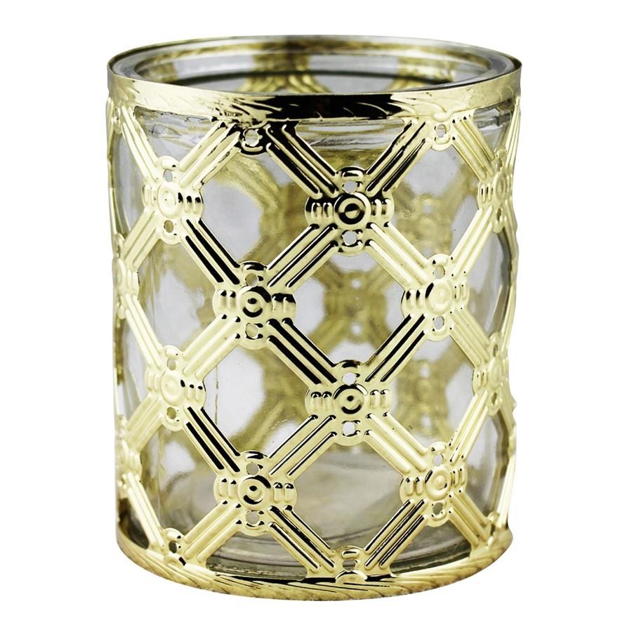 Castiçal de Metal e Vidro Dourado  8,5CMX10CM