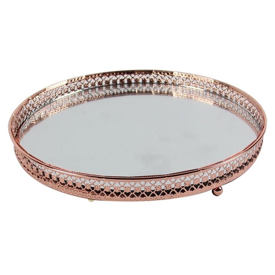 Bandeja de Metal Espelhada Redonda Bronze 20 x 20cm
