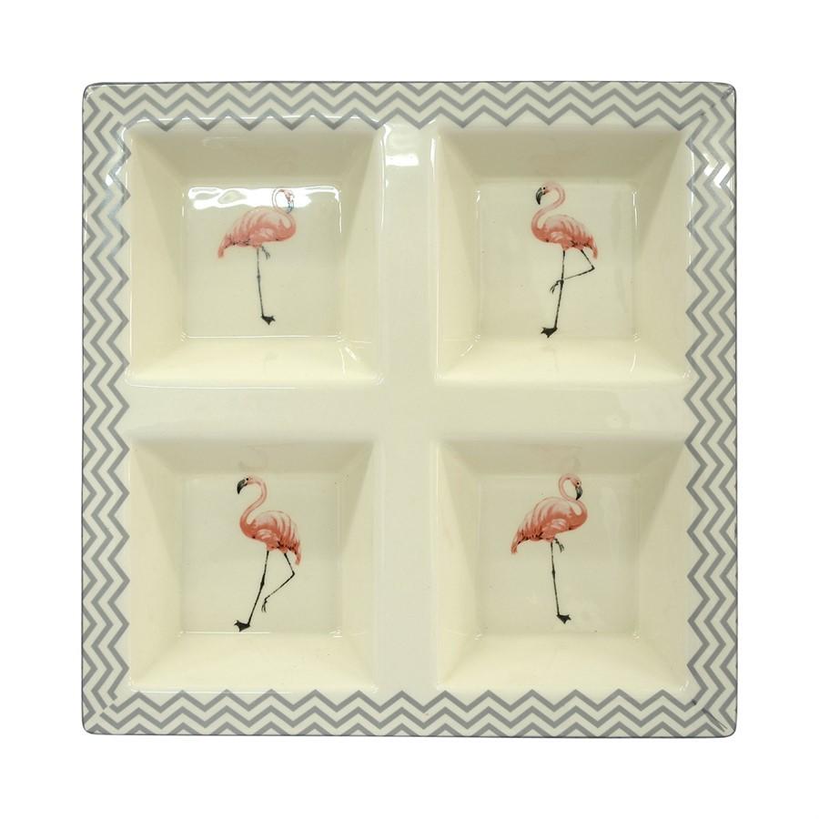Petisqueira Cerâmica Flamingos