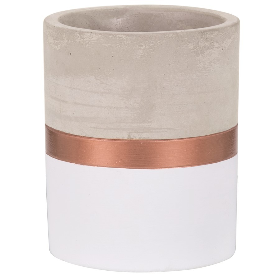 Vaso Branco e Cobre bronze em Cimento