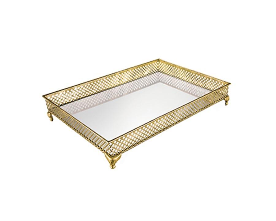 Bandeja Dourada com Espelho 46 cm