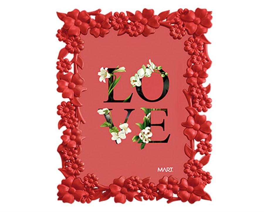 Porta Retrato Flores Vermelho 13x18cm