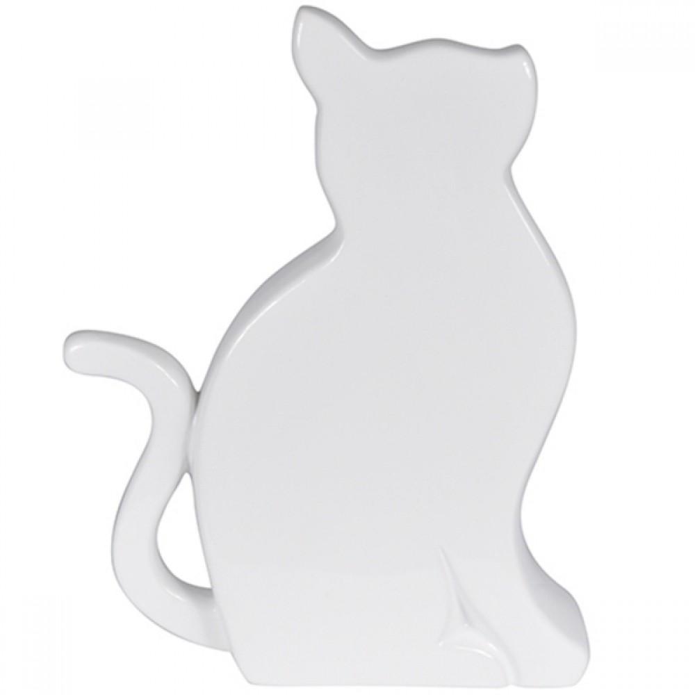 Gato Decorativo Branco 15x19cm