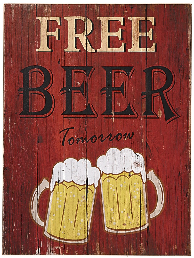Placa Decorativa Free beer tomorrow