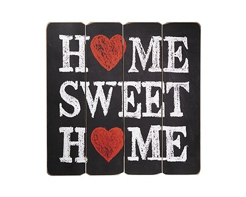 PLACA DECORATIVA DE MADEIRA HOME SWEET HOME