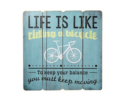 Placa Decorativa Life is like riding a bicicle...
