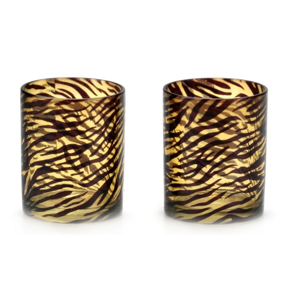 Porta Velas de Vidro Estampa Leopardo 2pçs