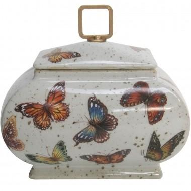 Pote Decorativo Cerâmica Borboletas 22x14x21cm