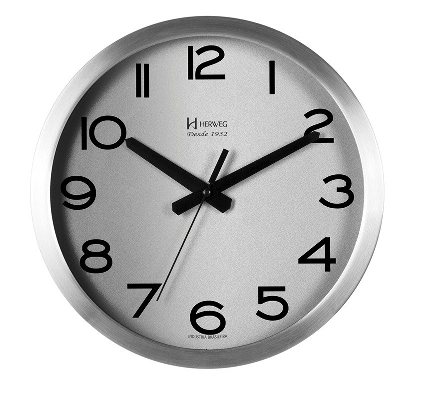 Relógio de Parede Alumínio Escovado 30cm