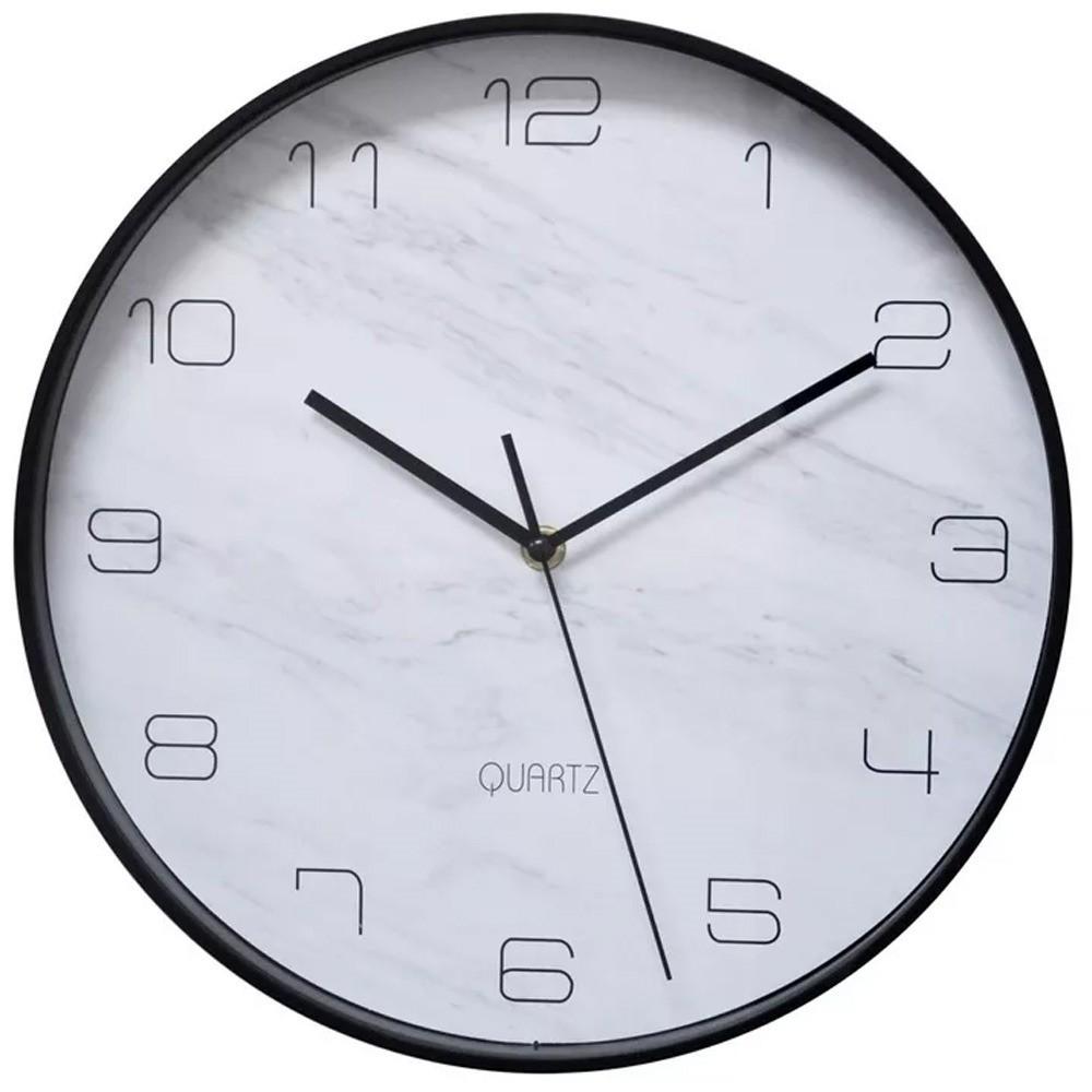 Relógio Marble Plástico Preto 31x31cm