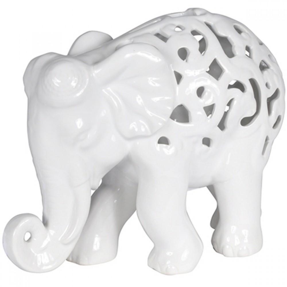 Elefante Decorativo de Cerâmica Branco