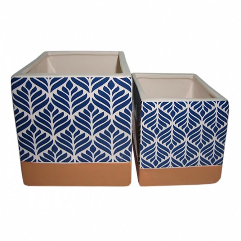 Cachepot Cerâmica Azul Quadrado 2